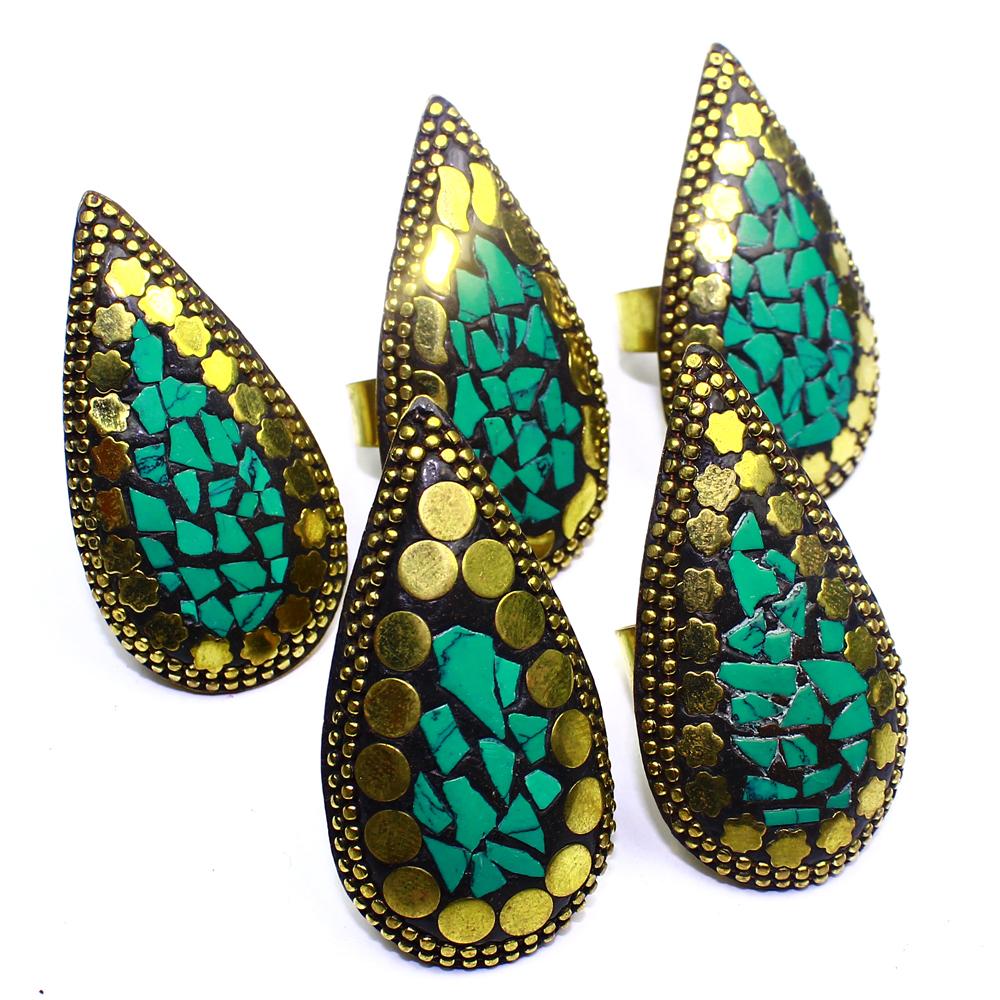 Turquoise 5Pcs Nepali Jewelry Solid Brass Wholesale Rings Lot 298