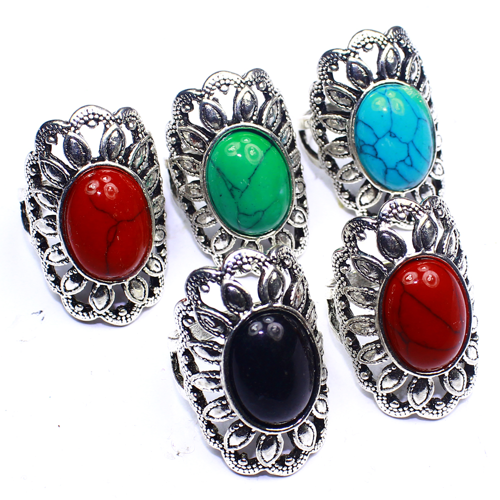 Turquoise Onyx 5Pcs Fashion Jewelry .925 Silver Plated Wholesale Rings Lot 312