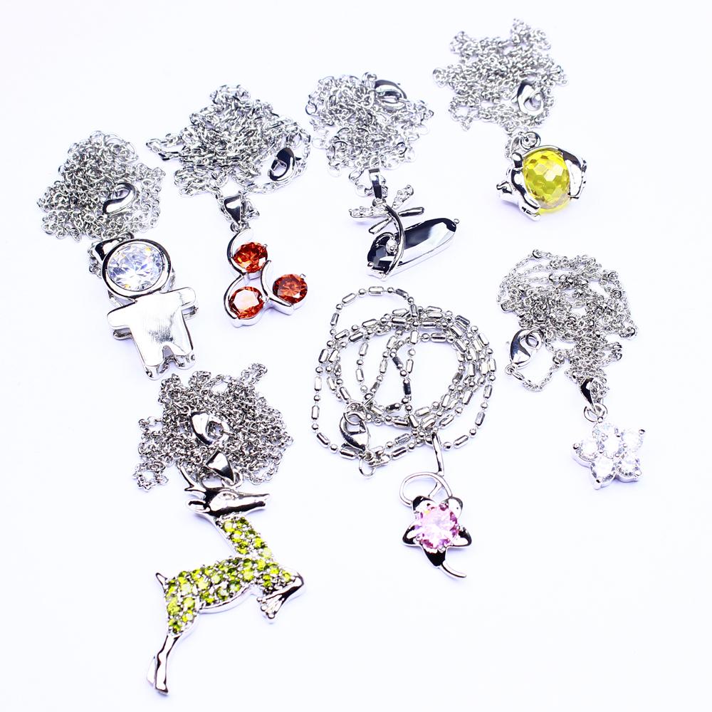 Garnet Black Crystal Stone 7Pcs Fashion Jewelry Silver Plated Pendants Lot 333