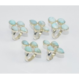 Wholesale 5Pc 925 Solid Sterling Silver Blue Larimar Ring Lot GTC012