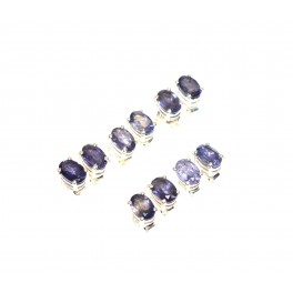 WHOLESALE 5PR 925 SOLID STERLING SILVER FACETED BLUE IOLITE STUD EARRING LOT