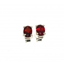 925 SOLID STERLING SILVER FACETED RED GARNET STUD EARRING