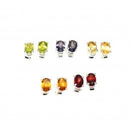 WHOLESALE 5PR 925 SOLID STERLING SILVER IOLITE MIX STONE STUD EARRING LOT