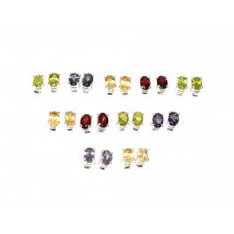 WHOLESALE 11PR 925 SOLID STERLING SILVER IOLITE MIX STONE STUD EARRING LOT