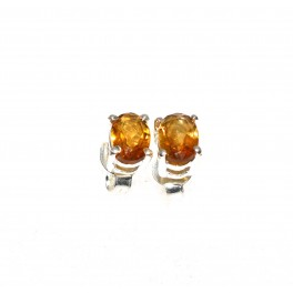 925 SOLID STERLING SILVER FACETED YELLOW CITRINE STUD EARRING
