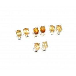 WHOLESALE 4PR 925 SOLID STERLING SILVER CUT YELLOW CITRINE STUD EARRING LOT