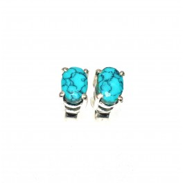 925 SOLID STERLING SILVER FACETED BLUE TURQUOISE STUD EARRING