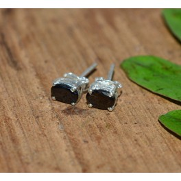 925 SOLID STERLING SILVER FACETED BLACK ONYX STUD EARRING