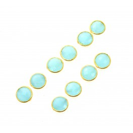 WHOLESALE 5PR 925 SOLID STERLING 24CT GOLD OVERLAY BLUE CHALCEDONY STUD LOT