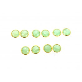 WHOLESALE 5PR 925 SOLID STERLING 24CT GOLD OVERLAY AQUA CHALCEDONY STUD LOT