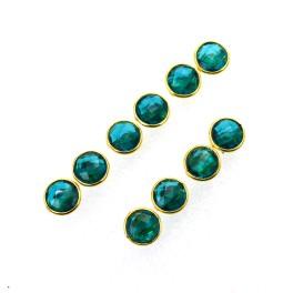 WHOLESALE 5PR 925 SOLID STERLING 24CT GOLD OVERLAY TEAL BLUE QUARTZ STUD LOT