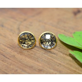 925 SOLID STERLING SILVER 24CT GOLD OVERLAY CUT BLACK RUTILE STUD EARRING
