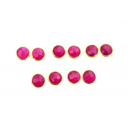 WHOLESALE 5PR 925 SOLID STERLING 24CT GOLD OVERLAY CUT RED RUBY STUD LOT