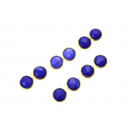 WHOLESALE 5PR 925 SOLID STERLING 24CT GOLD OVERLAY CUT BLUE SAPPHIRE STUD LOT