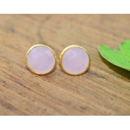 925 SOLID STERLING SILVER 24CT GOLD OVERLAY CUT PINK ROSE QUARTZ STUD EARRING