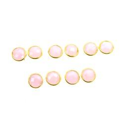 WHOLESALE 5PR 925 SOLID STERLING 24CT GOLD OVERLAY PINK ROSE QUARTZ STUD LOT
