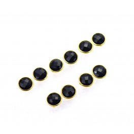 WHOLESALE 5PR 925 SOLID STERLING 24CT GOLD OVERLAY CUT BLACK ONYX STUD LOT
