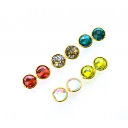 WHOLESALE 5PR 925 SOLIDSTERLING 24CT GOLD OVERLAY RED RUBY MIX STONE STUD LOT