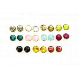 WHOLESALE 11PR 925 SOLIDSTERLING 24CT GOLD OVERLAY RED RUBY MIXSTONE STUD LOT