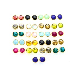 WHOLESALE 21PR 925 SOLIDSTERLING 24CT GOLD OVERLAY RED RUBY MIXSTONE STUD LOT