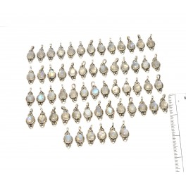 WHOLESALE 58PC 925 SOLID STERLING WHITE RAINBOW MOONSTONE PENDANT LOT