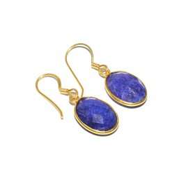 925 SOLID STERLING SILVER 24CT GOLD OVERLAY CUT BLUE SAPPHIRE HOOK EARRING