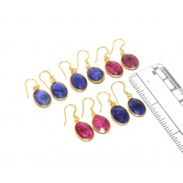 WHOLESALE 5PC 925 SOLID STERLING 24CT GOLD OVERLAY RED RUBY MIX EARRING LOT