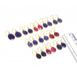 WHOLESALE 11PC 925 SOLID STERLING 24CT GOLD OVERLAY RED RUBY MIX EARRING LOT