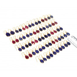 WHOLESALE 33PC 925 SOLID STERLING 24CT GOLD OVERLAY RED RUBY MIX EARRING LOT