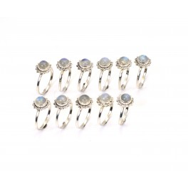 WHOLESALE 11PC 925 SOLID STERLING SILVER WHITE RAINBOW MOONSTONE RING LOT