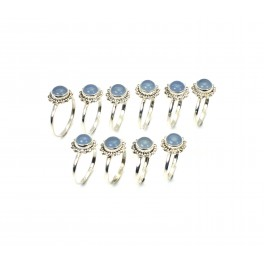 WHOLESALE 10PC 925 SOLID STERLING SILVER BLUE CHALCEDONY RING LOT