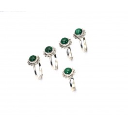 WHOLESALE 5PC 925 SOLID STERLING SILVER GREEN MALACHITE RING LOT