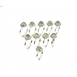WHOLESALE 10PC 925 SOLID STERLING SILVER GREEN PREHNITE RING LOT