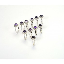 WHOLESALE 11PC 925 SOLID STERLING SILVER PURPLE AMETHYST RING LOT