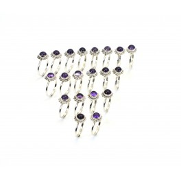 WHOLESALE 20PC 925 SOLID STERLING SILVER PURPLE AMETHYST RING LOT