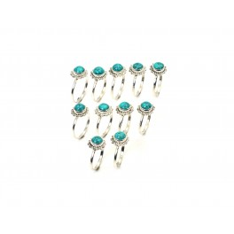 WHOLESALE 11PC 925 SOLID STERLING SILVER BLUE TURQUOISE RING LOT