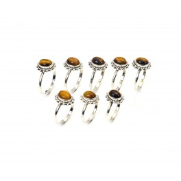 WHOLESALE 8PC 925 SOLID STERLING SILVER TIGER EYE RING LOT