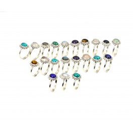 WHOLESALE 21PC 925 SOLID STERLING SILVER MILKY OPALITE MIX STONE RING LOT