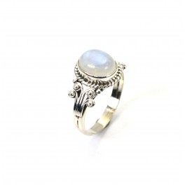 925 SOLID STERLING SILVER WHITE RAINBOW MOONSTONE RING