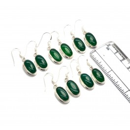 WHOLESALE 5PR 925 SOLID STERLING SILVER GREEN ONYX HOOK EARRING LOT