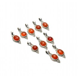 WHOLESALE 10PC 925 SOLID STERLING SILVER RED CARNELIAN PENDANT LOT