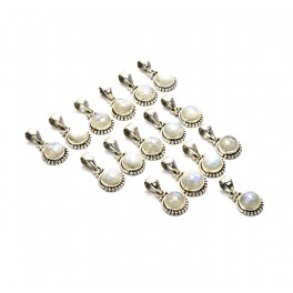 WHOLESALE 16PC 925 SOLID STERLING SILVER WHITE RAINBOW MOONSTONE PENDANT LOT