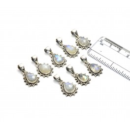 WHOLESALE 8PC 925 SOLID STERLING SILVER WHITE RAINBOW MOONSTONE PENDANT LOT