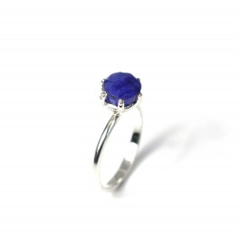 925 SOLID STERLING SILVER FACETED BLUE SAPPHIRE RING