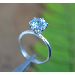 925 SOLID STERLING SILVER FACETED BLUE TOPAZ RING