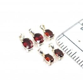 WHOLESALE 5PC 925 SOLID STERLING SILVER RED GARNET PENDANT LOT