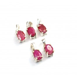 WHOLESALE 5PC 925 SOLID STERLING SILVER RED RUBY PENDANT LOT