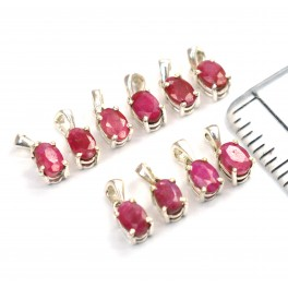 WHOLESALE 10PC 925 SOLID STERLING SILVER RED RUBY PENDANT LOT