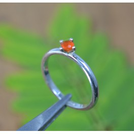 925 SOLID STERLING SILVER CUT RED CARNELIAN RING