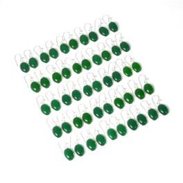 WHOLESALE 25PR 925 SOLID STERLING SILVER GREEN ONYX HOOK EARRING LOT-1 INCH